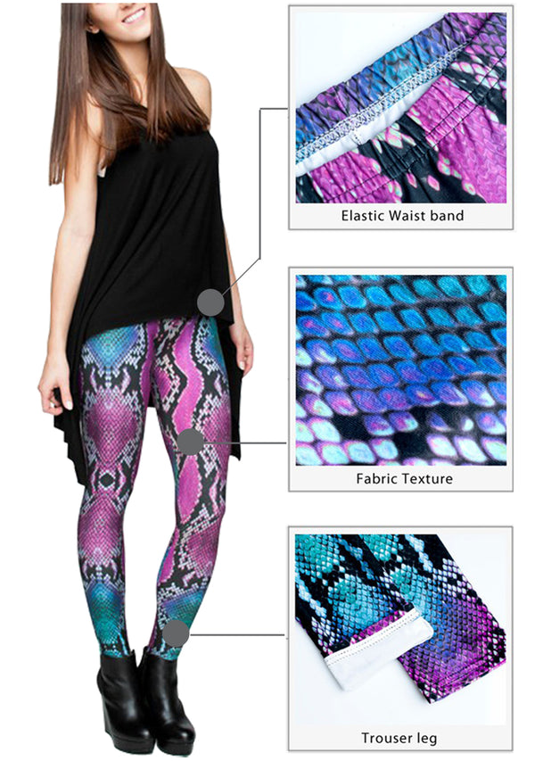 Ayliss Women Printed Stretch Leggings Elastic Pants Color Serpentine