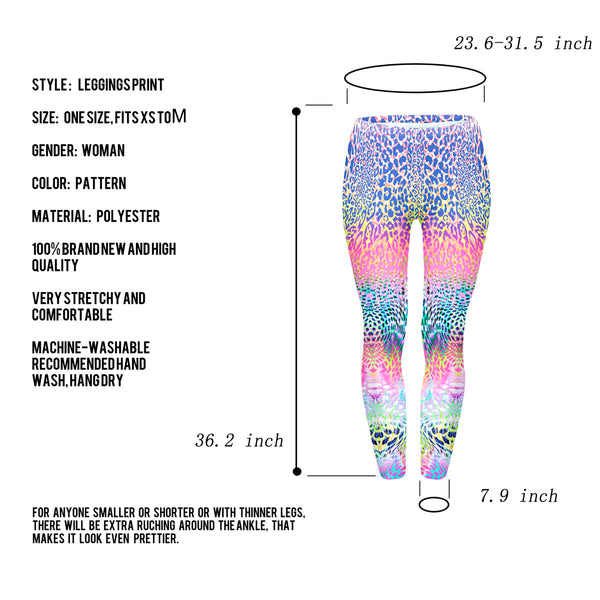 Ayliss Women Printed Stretch Leggings Elastic Pants Leaf Prints Fluorescent Leopard