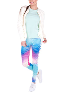 Ayliss Women Printed Stretch Leggings Elastic Pants Blue Gradient