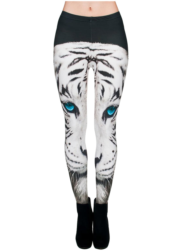 Ayliss Women Printed Stretch Leggings Elastic Pants White Cat