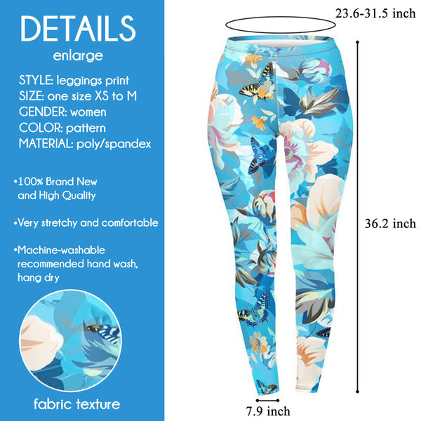 Ayliss Women High Waist Yoga Leggings Skinny Ankle Length Pants Digital Print Elastic Tights