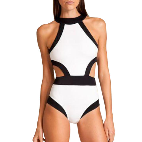 Women's Sexy Patchwork High Waist Swimsuit One-piece Bandage Monokini