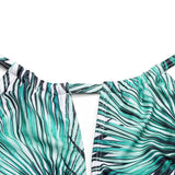 Womens One Piece Floral Green Leaf Swimsuit Hollow Cut Backless Monokini