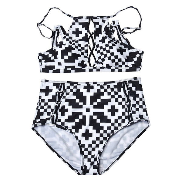 Women Plus Size Two Piece Swimsuit Criss Cross Bikini Set