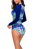 Women's Printed Long Sleeve Rash Guard Swimsuit Surfing Swimwear