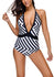 Women One-Piece Striped Graphic Swimsuit