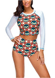 Women Rash Guard Long Sleeve Swimsuit Two Piece