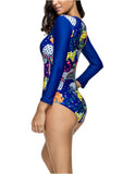 Floral One Piece Swimsuit Zipper Front Long Sleeve Bathing Suits