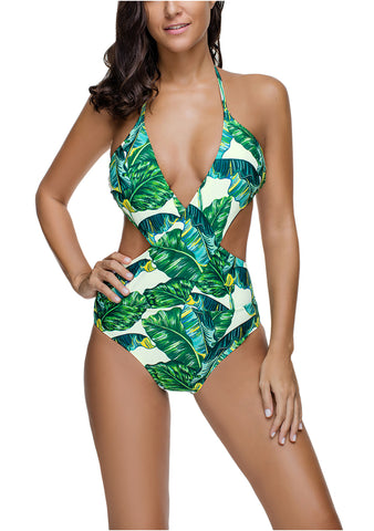 Women Floral One Piece Swimsuit Sexy Plunge Neck Backless Bathing Suits