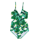 Women Floral Swimsuit Sexy Plunge Neck Backless Bathing Suit