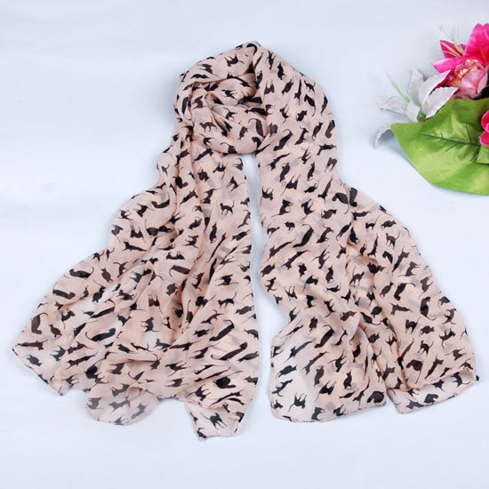 Women Chiffon kitten Pattern scarf shawl