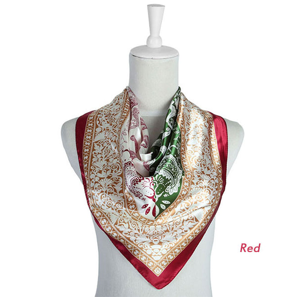 Women Floral Silk Scarf Large Satin Headscarf