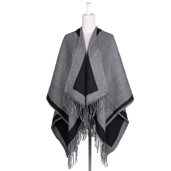 Women's Color Block Shawl Wrap Open Front Pashmina Poncho Cape Cardigans
