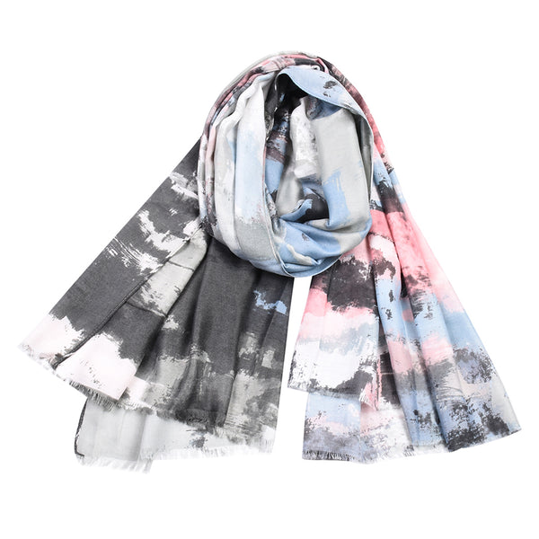 Ayliss Women Lightweight Scarf Fashion Fall Winter Cotton Shawl Wrap Tie Dye Soft Warm Scarves Graffiti Cozy