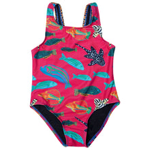 HappieCo girls swimmers pink tropical fish