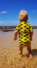 baby boy yellow swimmers fish pattern upf50+ HappyCo