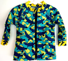 Platypus Australia print. Long sleeved childs rashshirt. Made in Australia from recycled materials
