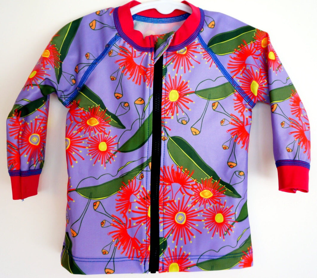 Flowering gum Australia design. Childs long sleeved sun shirt. UPF50+