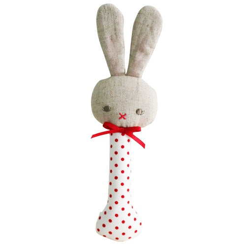 Alimrose - Baby Bunny Rattle Stick Red