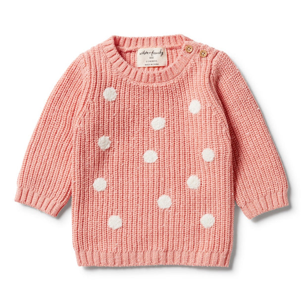 Wilson + Frenchy - Knitted Spot Jumper Flamingo Fleck