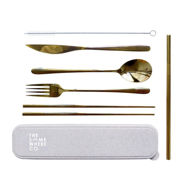 The Somewhere Co - Take Me Away Cutlery Set Gold