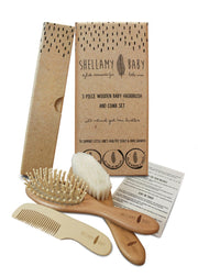 Shellamy Baby  - Wooden Hair Brush Set