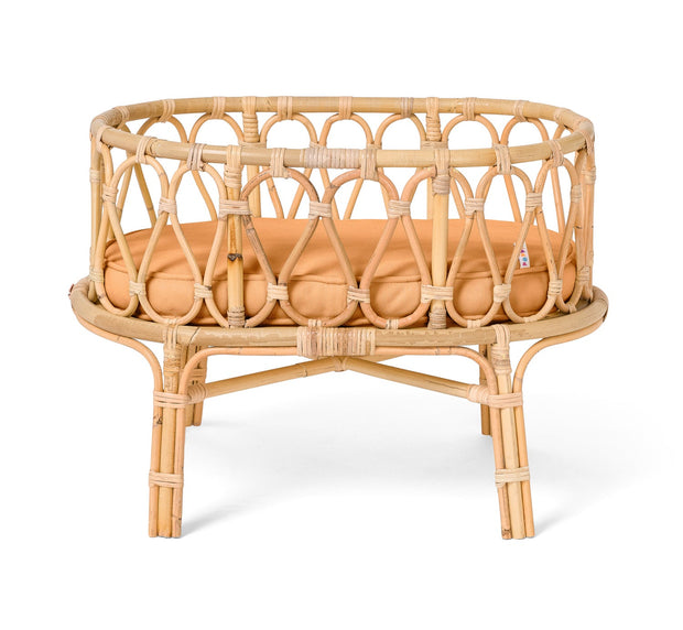 Poppie Toys - Rattan Dolls Crib Clay