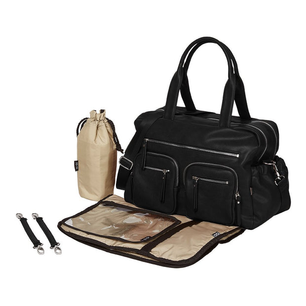OiOi - Faux Leather Carry All Nappy Bag Black