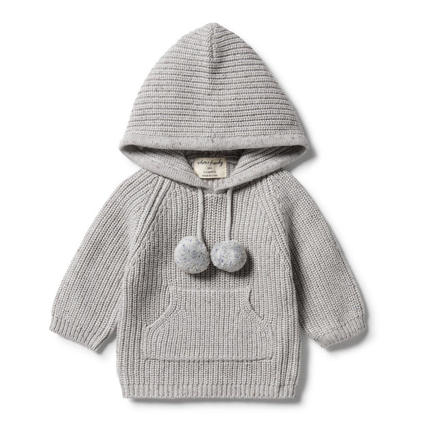 Wilson + Frenchy - Jumper with Hood Glacier Grey Fleck
