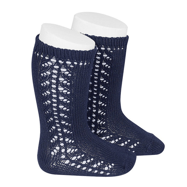 Condor Barcelona - Side Openwork Knee High Socks Navy