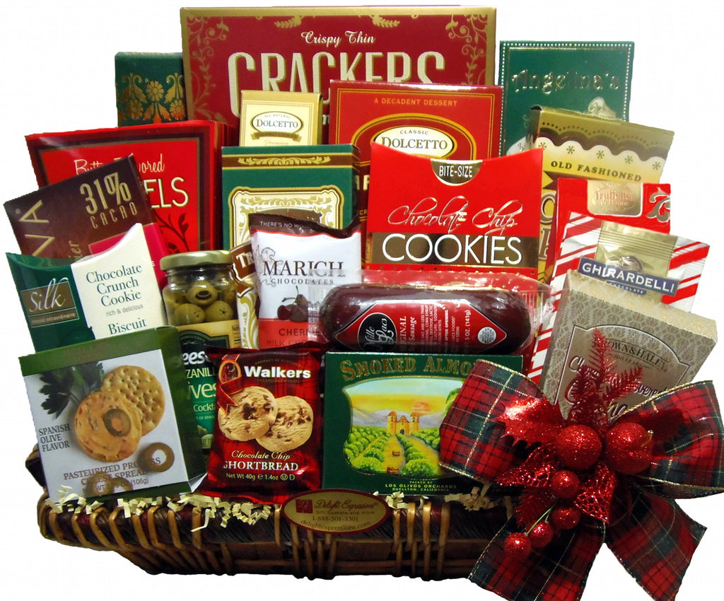 Season Greetings Gourmet Gift Basket, Holiday Food Baskets, Long ...