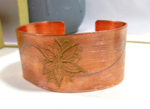 Copper Cuff Bracelet with Flower Engraving