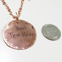Personalized Circle Pendant Necklace For Women Engraved Copper or Stainless S...