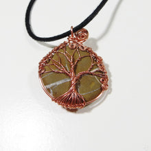 Copper Tree of Life Lightening Stone Necklace