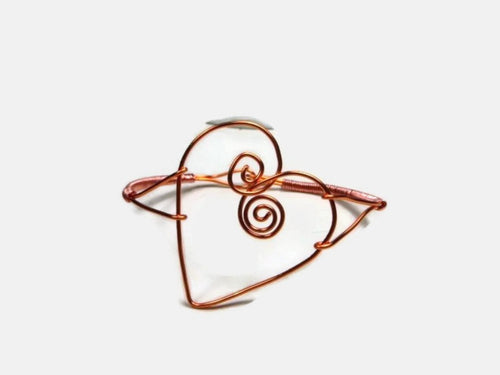 Copper Wire Wrapped Valentine Heart Bracelet for Women