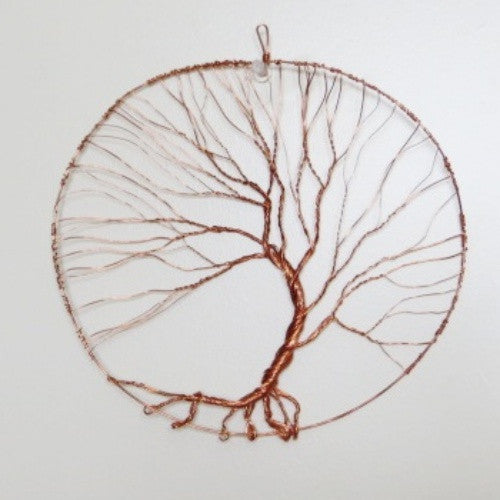 Abstract Copper Wire Wrapped Windblown 6 Inch Tree of Life Wall Art