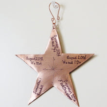 Copper Star Personalized Engraved Christmas Ornament for Couples