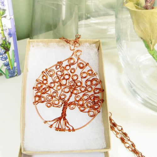 Copper Wire Wrapped Handcrafted Tree of Life Swirl Pendant Necklace