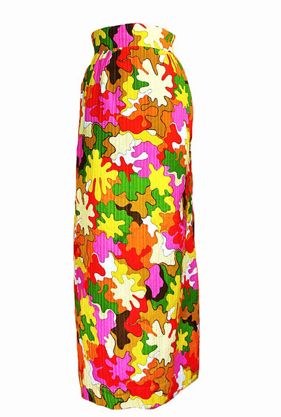 vintage multicolor pink green yellow brown red splatter print high waist pencil midi long skirt