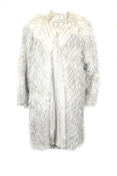 large gray white ombre faux fur coat fall autumn winter