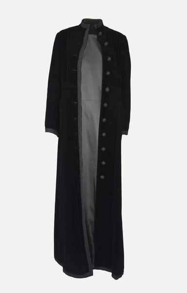 long maxi black velvet military button style coat fall winter autumn
