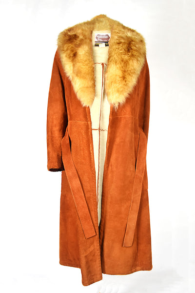 vintage real genuine leather suede fur collar tan burnt orange coat with belt and fur lining fall autumn winter