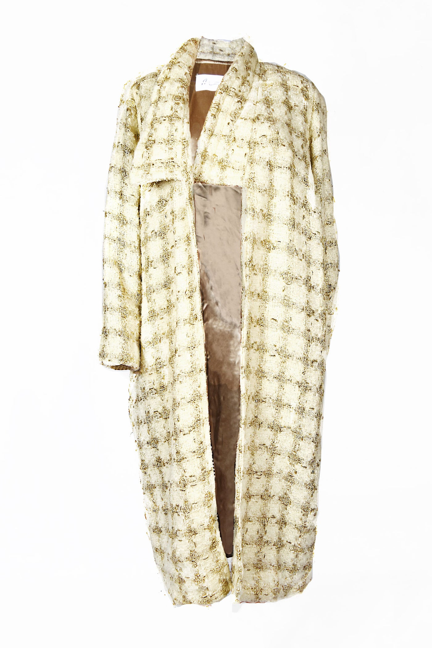 beige off-white cream metallic gold woven plaid coat oversized collars loose fit