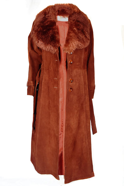 vintage mahogany brown fur collar suede coat autumn fall winter