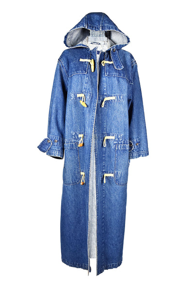 vintage 90s ralph lauren hooded long duster maxi denim jacket coat with  toggle buttons blue fall autumn winter
