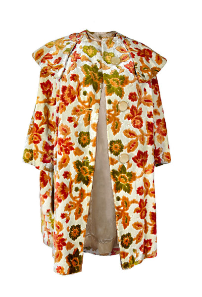 floral carpet velvet coat green red orange yellow swing wide collar fall autumn winter