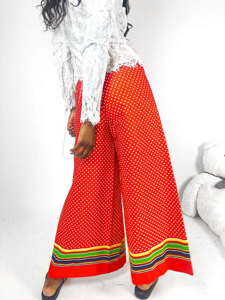 red white polka dot rainbow stripe print wide leg pants