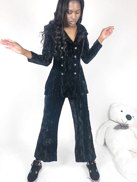 black crushed velvet two piece jacket pants suit