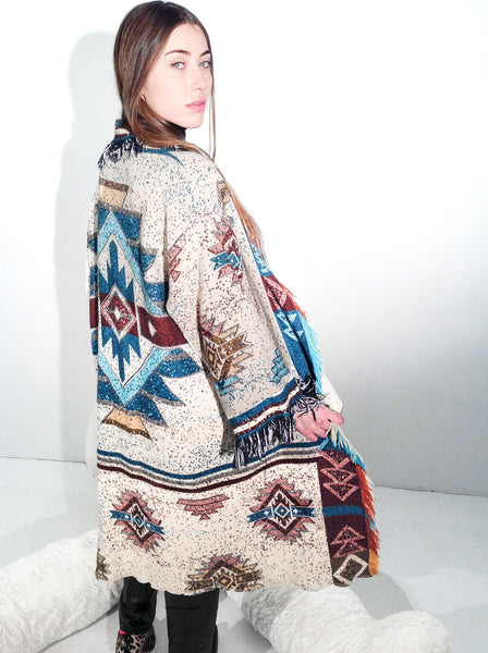 vintage geometric print teal burgundy orange beige yellow blue red multicolor fringe blanket coat jacket housecoat