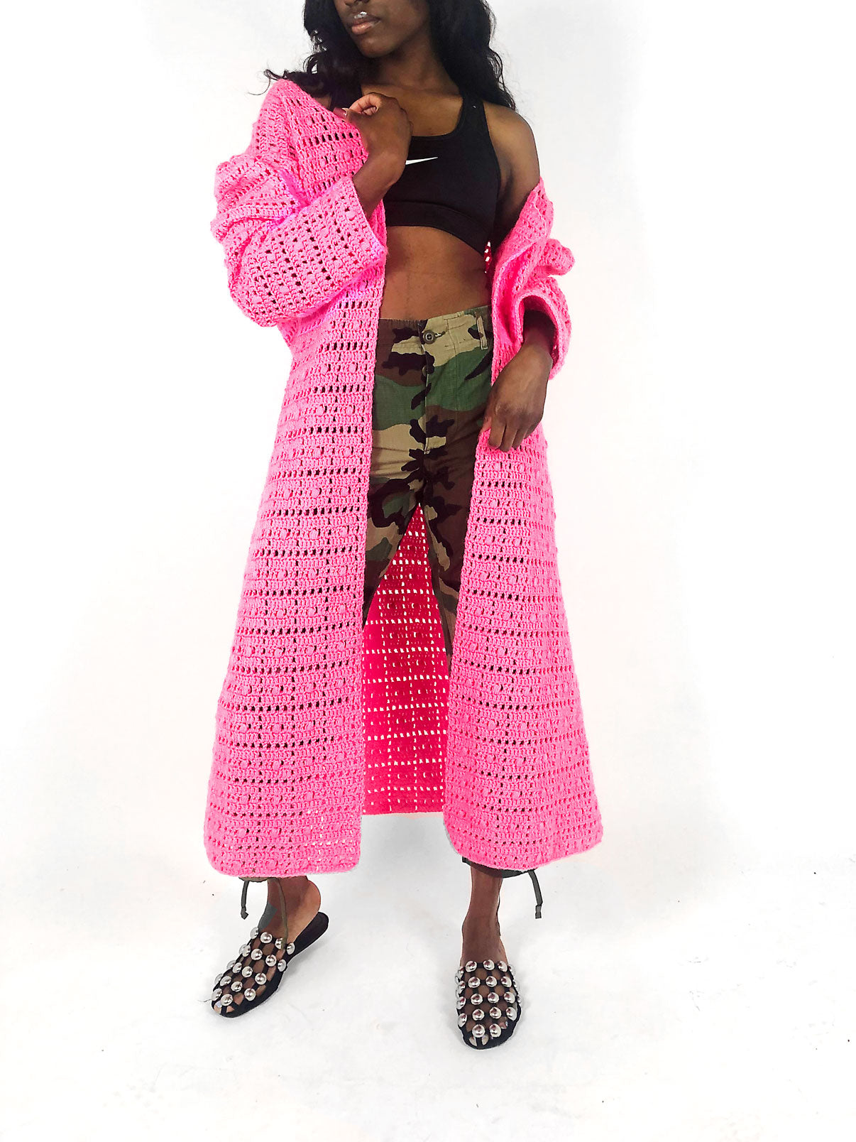 vintage hot neon pink long maxi cardigan sweater
